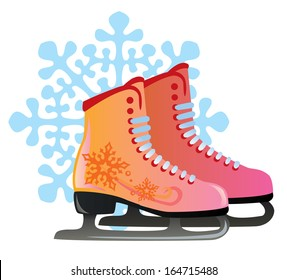 vector pair of red female skates decor with snowflakes