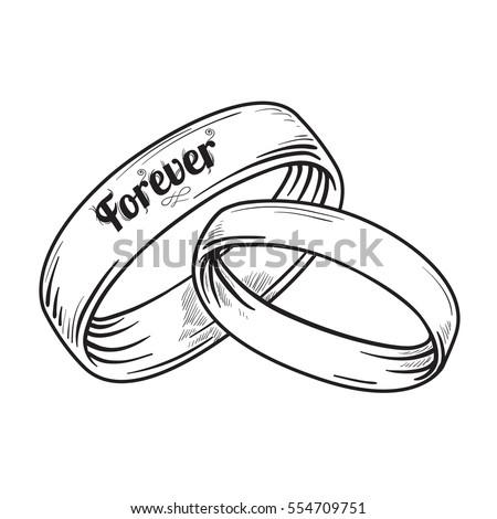 Vector Pair Traditional Golden Wedding Rings Stock Vector Royalty