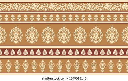 Vector paisley border design with flower