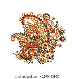 Vector Paisley isolated ornament greeting card