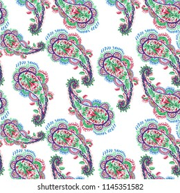 Vector paisley pattern ethnic floral background. Beautiful folk floral pattern shapes leaves and flowers curves design. Colorful romantic plant collage on a white backdrop.