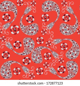Vector Paisley seamless pattern and seamless pattern in swatch menu. Can be used for wallpapers, clothes, tableware, packaging, posters.  Background made seamlessly