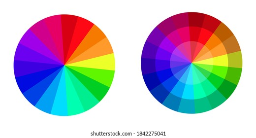 Vector palette in the form of a colored circular wheel. Chromatic rainbow chart. Stock image.