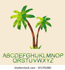 Vector palm tree with font by triangles, polygon vector illustration