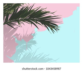 Vector of palm tree leaf, realistic flat style. nice sweet pastel color palette. with space for texts. nostalgic\ emotion \ aesthetic feeling