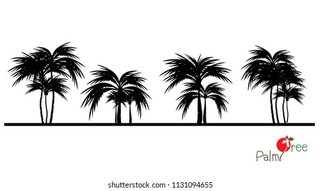 vector of palm tree silhouette icons on background, coconut tree flat icon for vacation apps and websites.
