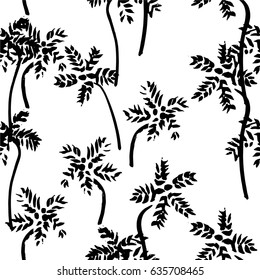 Vector palms seamless pattern. Black and white illustration.