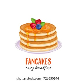 Vector pancakes illustration. Baking with syrup and blueberries and raspberries. Breakfast concept.