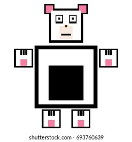 Vector panda are made of squares and rectangles