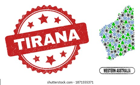 Vector pandemic New Year composition Western Australia map and Tirana unclean stamp seal. Tirana stamp uses rosette shape and red color. Collage Western Australia map is formed of randomized virus,