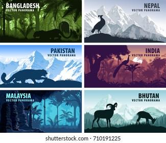 vector panorama of Bangladesh, Pakistan, Bhutan, Nepal, India and Malaysia with animals