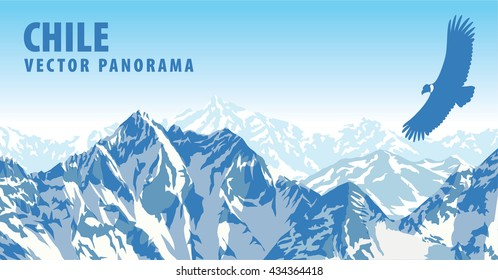 vector panorama of Chile, mountains with Andean condor