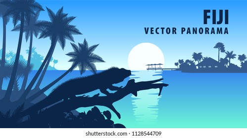vector panorama of Fiji with banded iguana