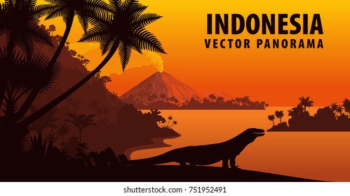 vector panorama of Indonesia with komodo dragon