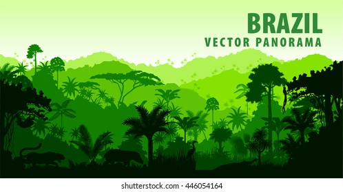Vector panorama with Jungle Rainforest - Brazil, South America