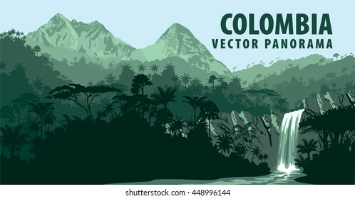 Vector panorama with Jungle Rainforest - Colombia, South America