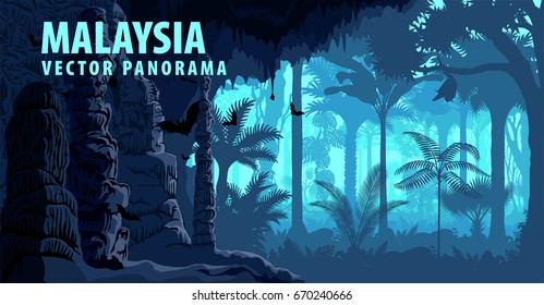 vector panorama of Malaysia with jungle raimforest, carst cave and bats