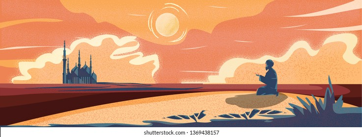 Vector Panorama of Muslim Man Making Traditional Prayer To God in Ramadan celebration Panoramic scene of traveler Muslim life in the desert. cartoon vector of mosque,dust,sand,desert and prayer.