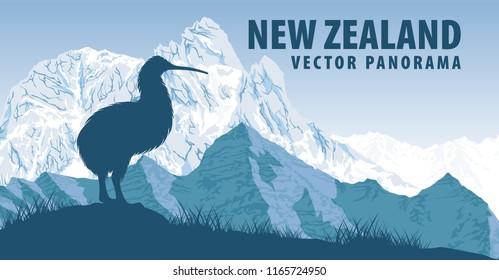 vector panorama of New Zealand with kiwi bird and Aoraki mountain
