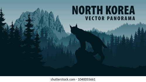 vector panorama of North Korea with mountain Chilbosan and lynx in woodland