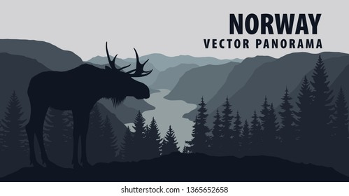 vector panorama of Norway with moose