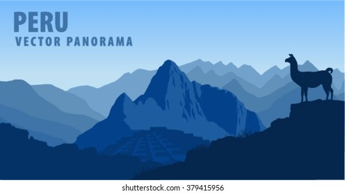vector panorama of Peru, Machu Picchu with Llama