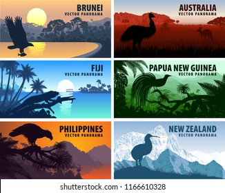 Vector panorama of Philippines, Australia, New Zealand, Brunei Darussalam and Papua New Guinea