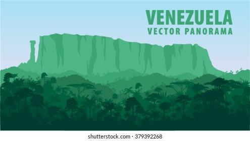 Vector panorama with Roraima tepui in Jungle Rainforest - Venezuela, South America