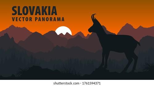 vector panorama of Slovakia with chamois