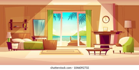 Vector panorama of villa interior, window with seaside. Bedroom of tropical hotel, resort, tourism concept. Luxury house with wooden shelf, fireplace. Ocean view, shore with pier