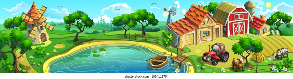 Vector panorama of the village near the lake. Farm with a barn, a house, a windmill, a boat, a cow and a tractor.