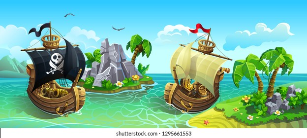 Vector panorama of wooden sailing ships among tropical islands. Pirates hunt for treasure.
