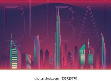 vector panoramic dubai city night view