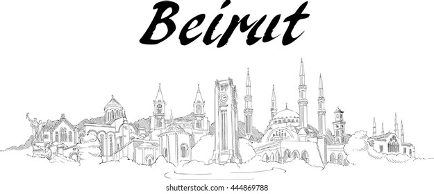 vector panoramic hand drawing beirut city illustration