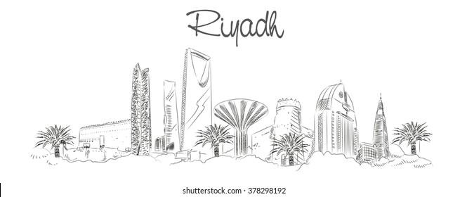 vector panoramic hand drawing sketch illustration of RIYADH city