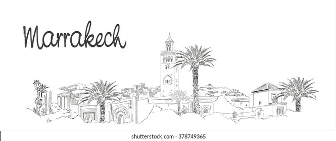 vector panoramic hand drawing sketch illustration of MARRAKECH city