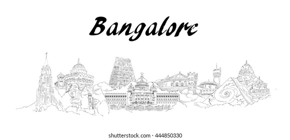 vector panoramic hand drawing sketch style bangalore city illustration