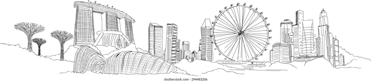 vector panoramic singapore city sketch