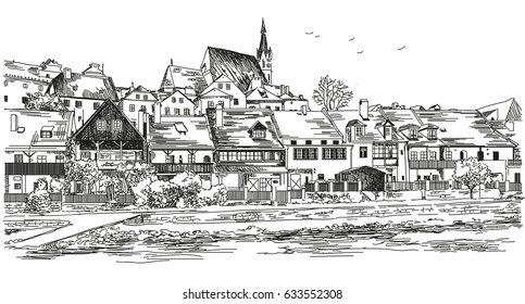 Vector panoramic view of Cesky Krumlov city in Czech Republic with roofs, houses and a pond hand drawing Illustration on white background