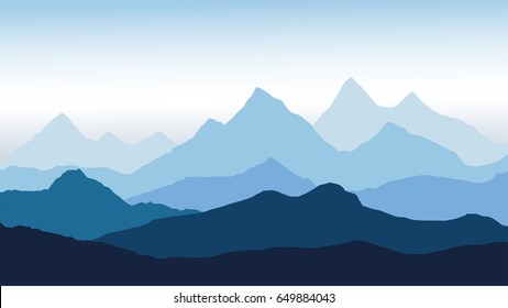 Vector panoramic view of the mountain landscape with fog in the valley below with the alpen glow blue sky