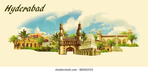 vector panoramic water color  illustration of HYDERABAD city