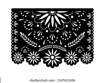 Vector papel picado banner with floral pattern. Laser cut template. Paper Mexican decorations
