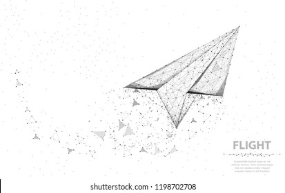 Vector Paper airplane. Abstract polygonal wireframe plane illustration on white background. Dream symbol. Travel, freedom and aviation concept