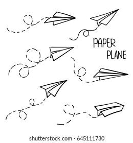 Vector paper airplane. Travel, route symbol. Set of vector illustration of hand drawn plane. Isolated. Outline. Hand drawn doodle. Black linear icon.