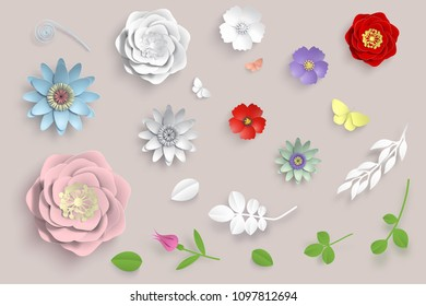 Vector paper art flowers set. 3d origami flowers, leaves and butterfly. Stock illustration