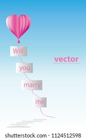 vector paper art pnk balloon hang paper and float up in the air.will you marry me