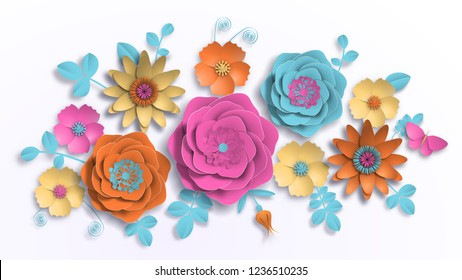 Vector paper art, summer flowers with realistic shadow on a white background with leaves cut of paper. Stock image illustration