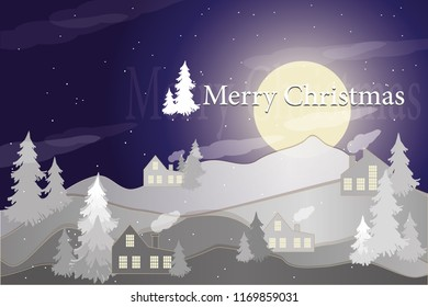 vector paper art.houses on snow mountain on night background