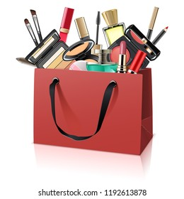 Vector Paper Bag with Makeup Cosmetics isolated on white background