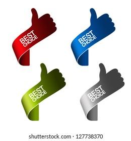 Vector paper best choice elements - hand gesture